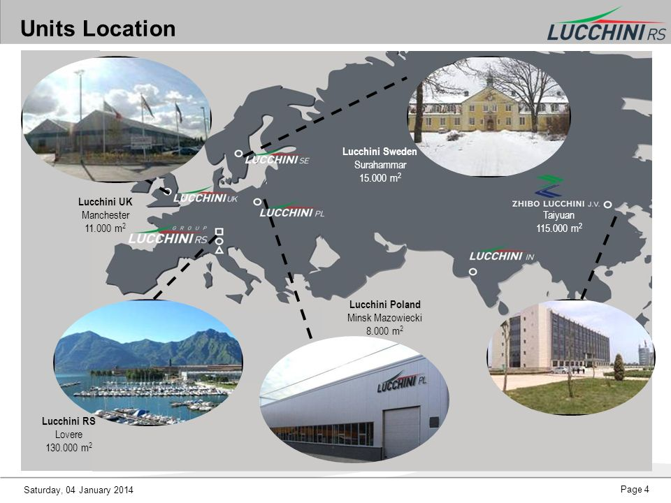 Units Location Lucchini Sweden Surahammar 15.000 m2