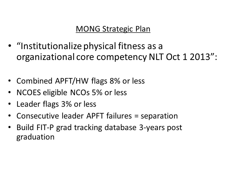 MONG Strategic Plan Institutionalize physical fitness as a organizational core competency NLT Oct 1 2013 :