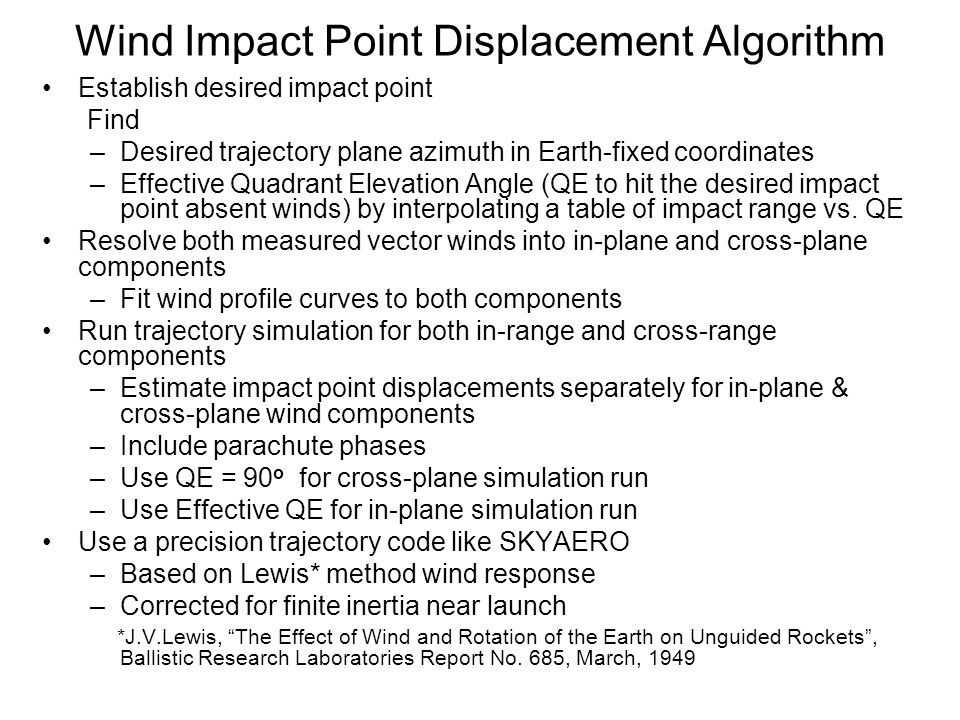 Wind Impact Point Displacement Algorithm