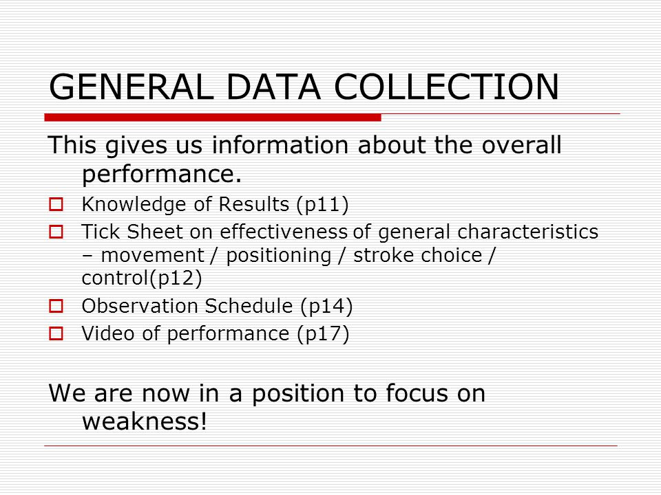 GENERAL DATA COLLECTION