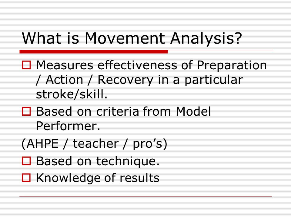 What is Movement Analysis