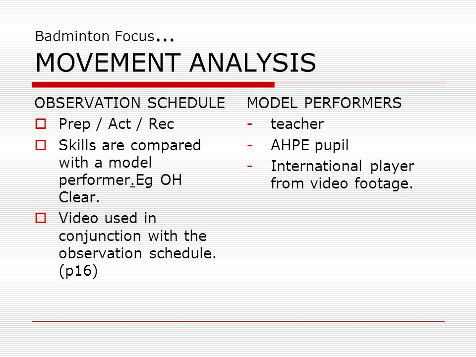 Badminton Focus… MOVEMENT ANALYSIS