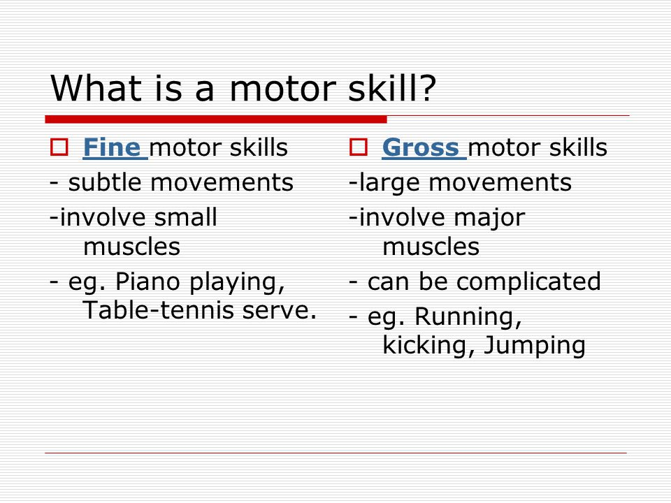 What is a motor skill Fine motor skills - subtle movements