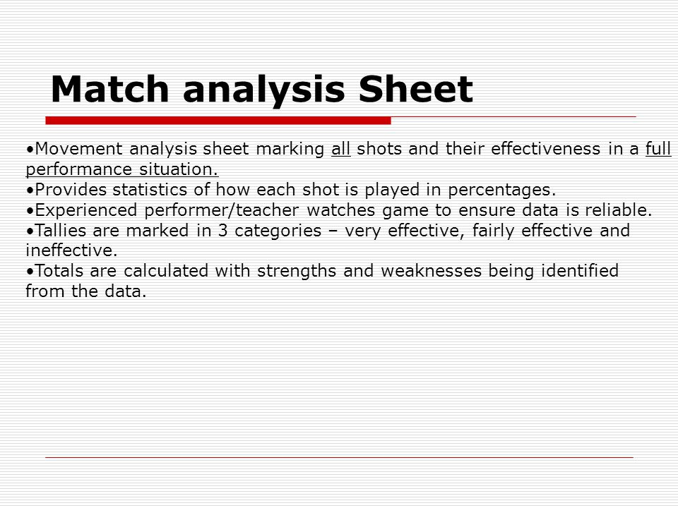 Match analysis Sheet Movement analysis sheet marking all shots and their effectiveness in a full performance situation.