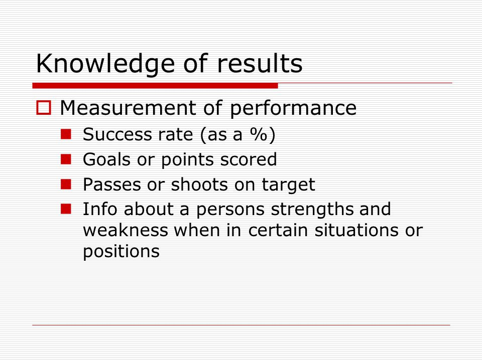 Knowledge of results Measurement of performance Success rate (as a %)