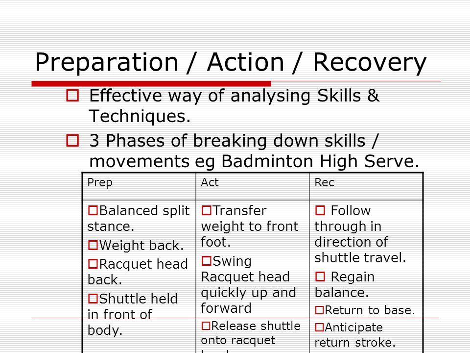 Preparation / Action / Recovery