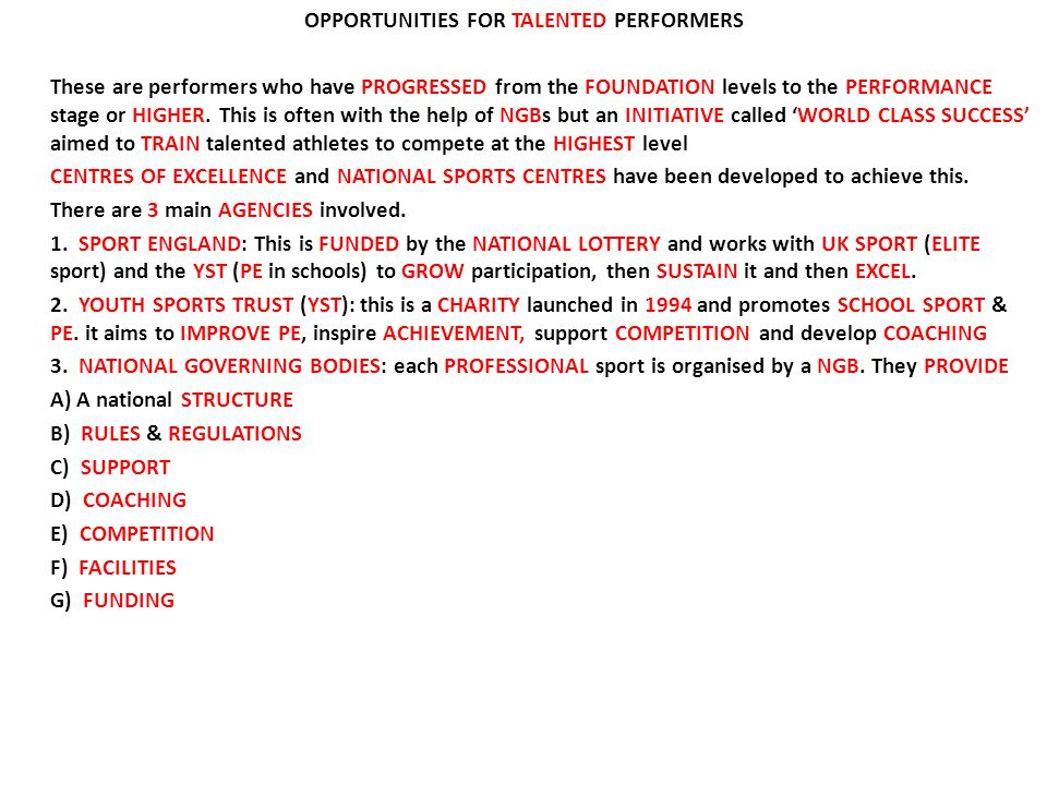 OPPORTUNITIES FOR TALENTED PERFORMERS These are performers who have PROGRESSED from the FOUNDATION levels to the PERFORMANCE stage or HIGHER.