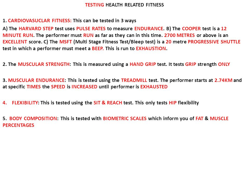 TESTING HEALTH RELATED FITNESS