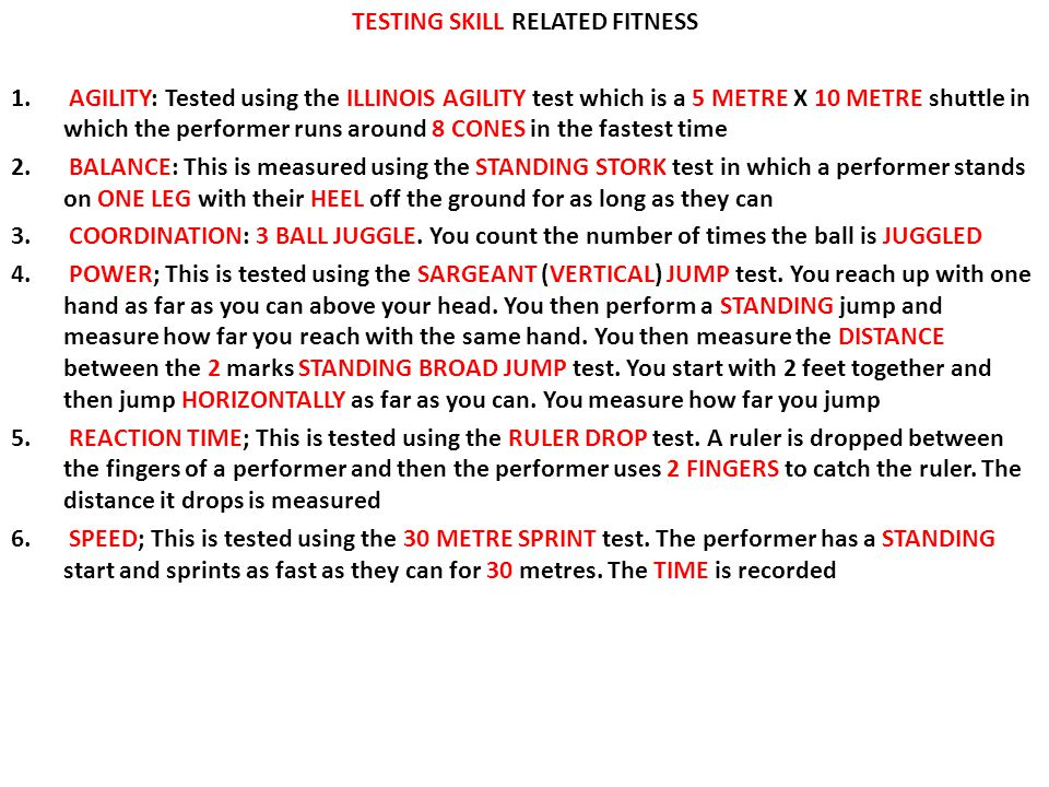 TESTING SKILL RELATED FITNESS