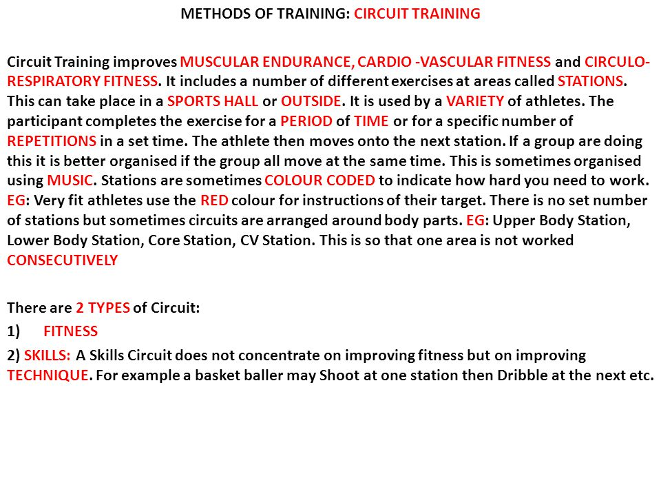 METHODS OF TRAINING: CIRCUIT TRAINING