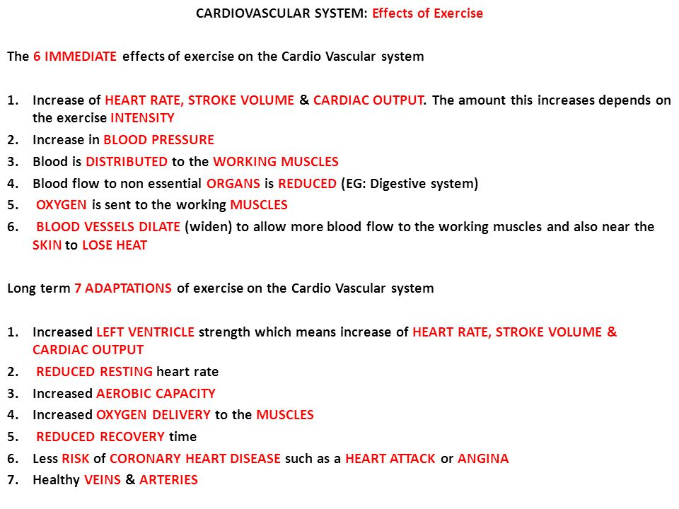 CARDIOVASCULAR SYSTEM: Effects of Exercise