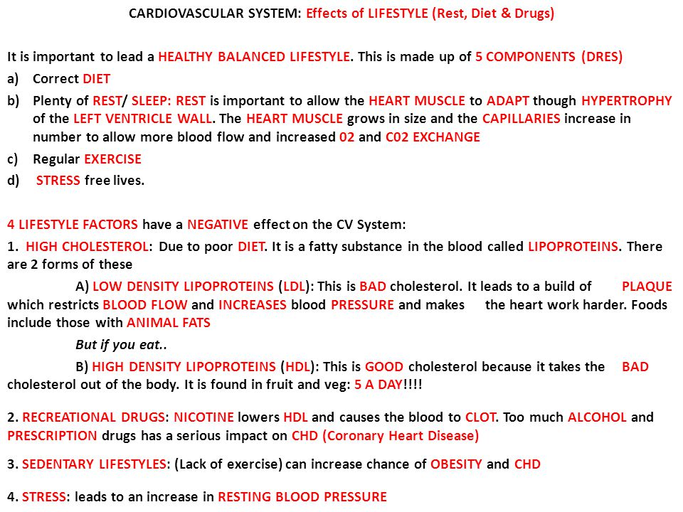 CARDIOVASCULAR SYSTEM: Effects of LIFESTYLE (Rest, Diet & Drugs)