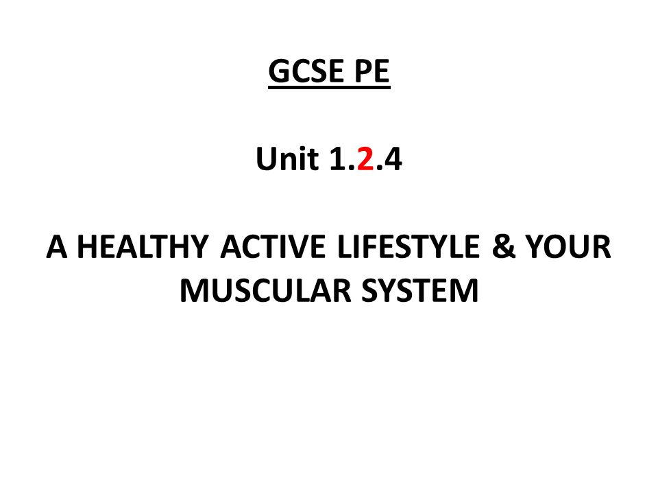 GCSE PE Unit 1.2.4 A HEALTHY ACTIVE LIFESTYLE & YOUR MUSCULAR SYSTEM