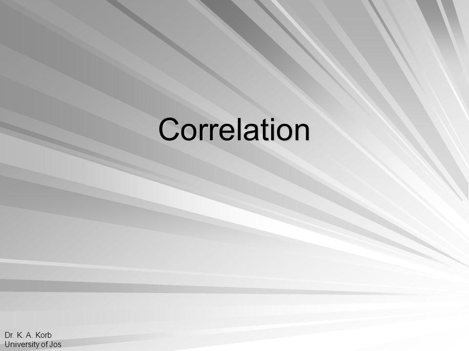 Correlation Dr. K. A. Korb University of Jos