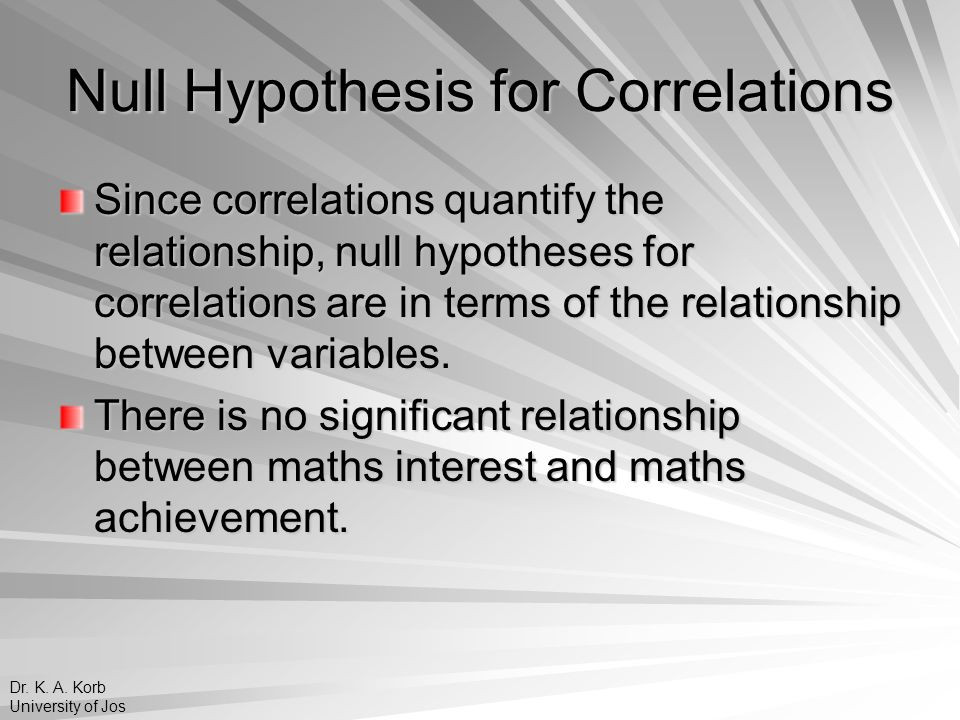 Null Hypothesis for Correlations