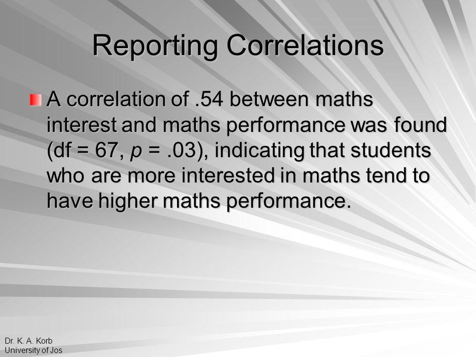 Reporting Correlations
