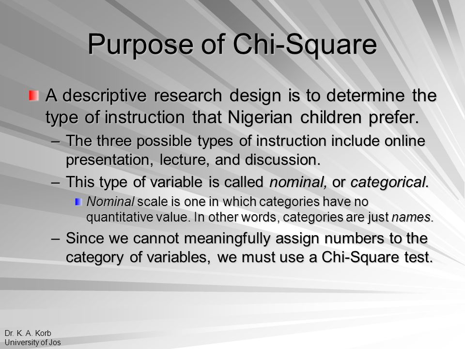 Purpose of Chi-Square A descriptive research design is to determine the type of instruction that Nigerian children prefer.