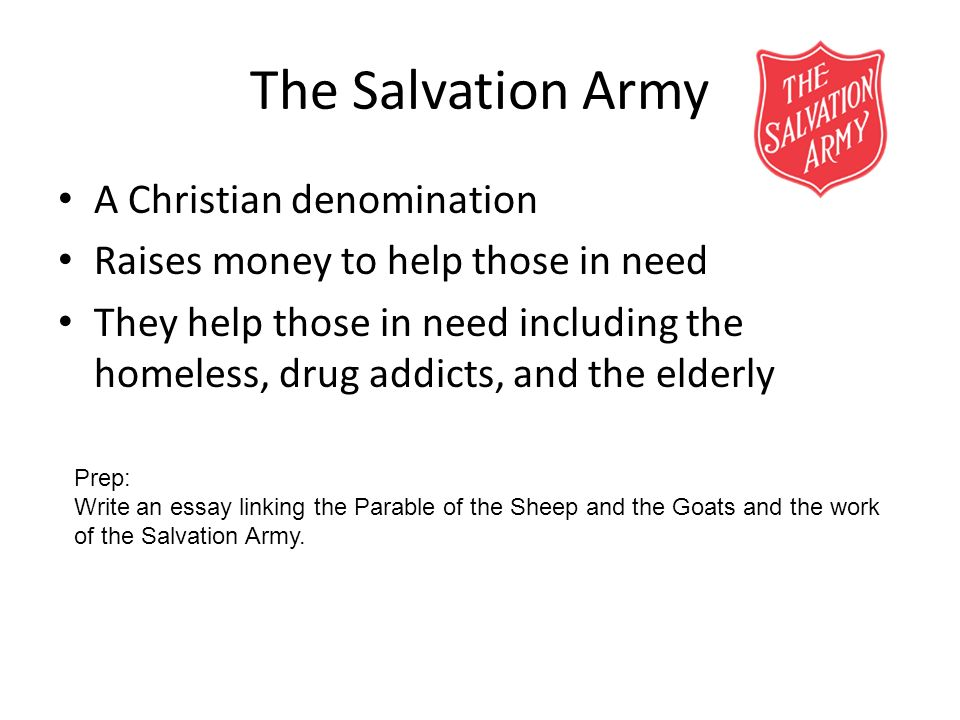 The Salvation Army A Christian denomination