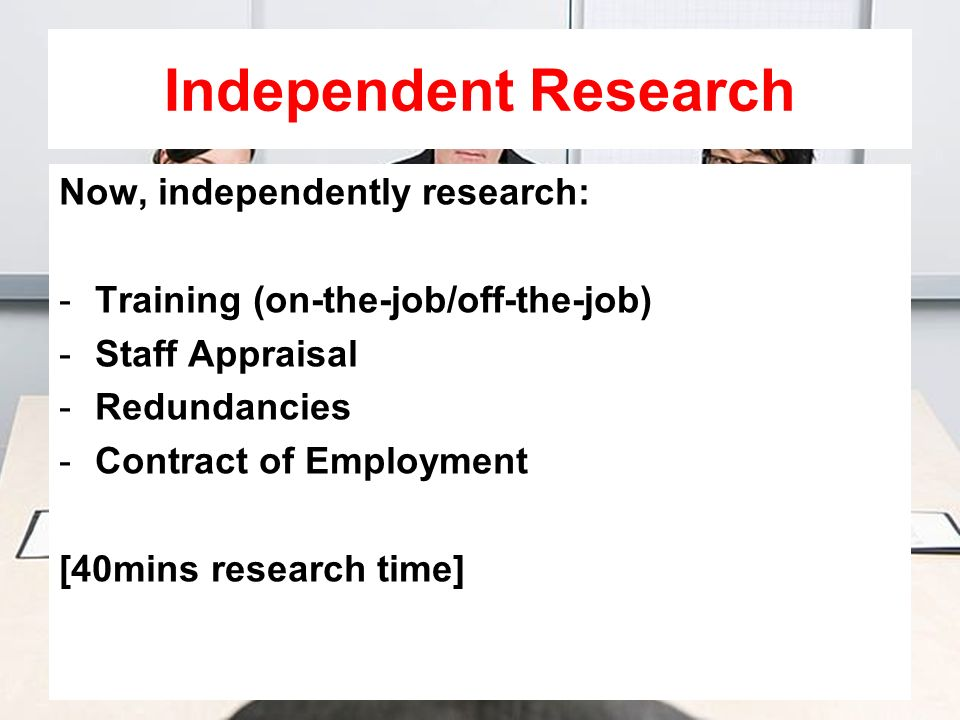 Independent Research Now, independently research: