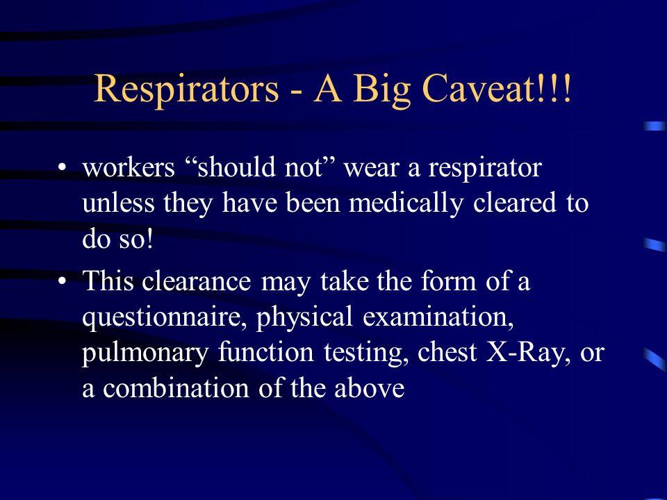 Respirators - A Big Caveat!!!