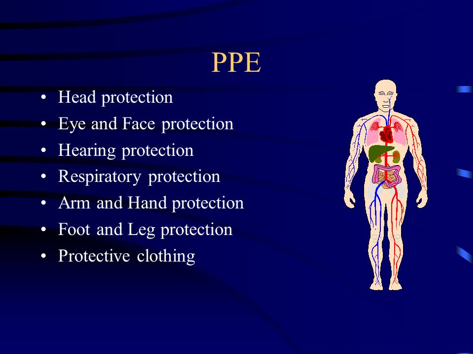 PPE Head protection Eye and Face protection Hearing protection