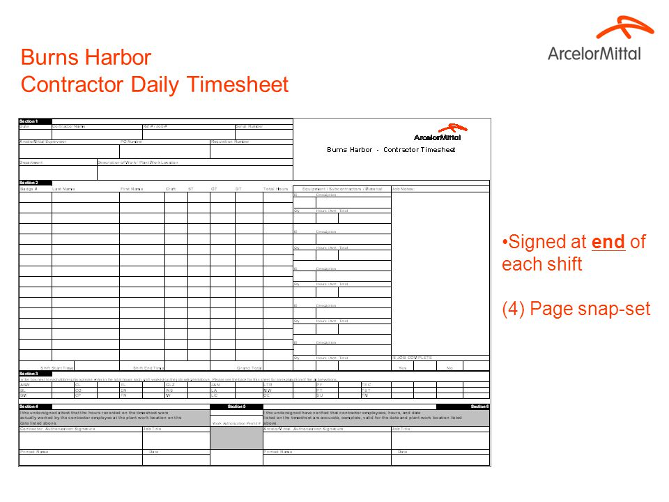 Burns Harbor Contractor Daily Timesheets
