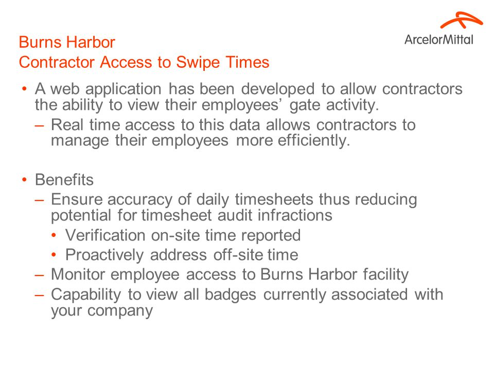 Burns Harbor Contractor Access to Swipe Times