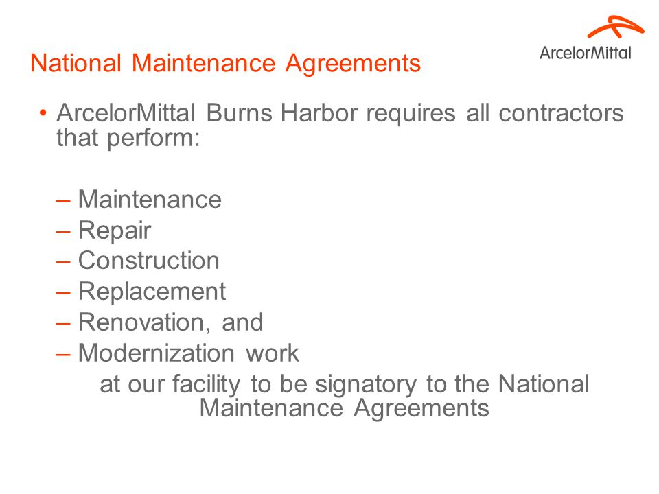 National Maintenance Agreements