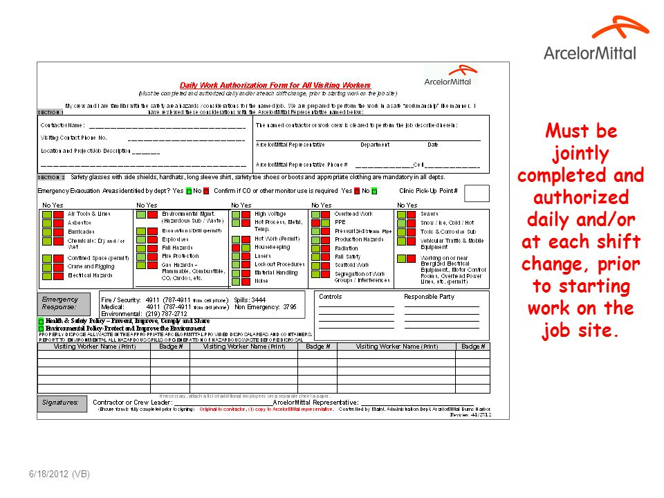 Burns Harbor Contractor Daily Work Authorization Form