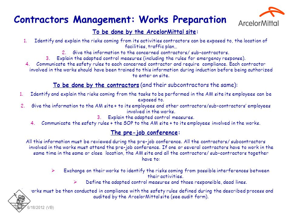 Contractors Management: Works Preparation (cont.)