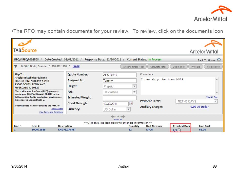 The Download Buyer Docs lists documents the buyers has sent that you can view or print