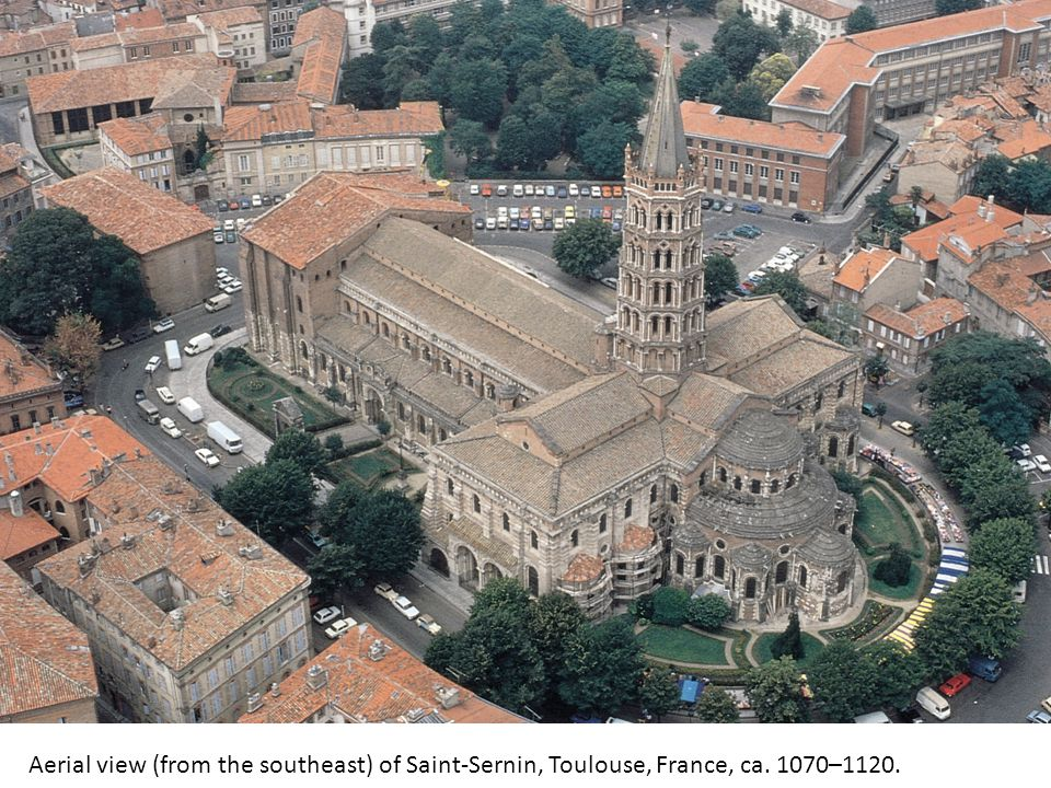 Aerial view (from the southeast) of Saint-Sernin, Toulouse, France, ca