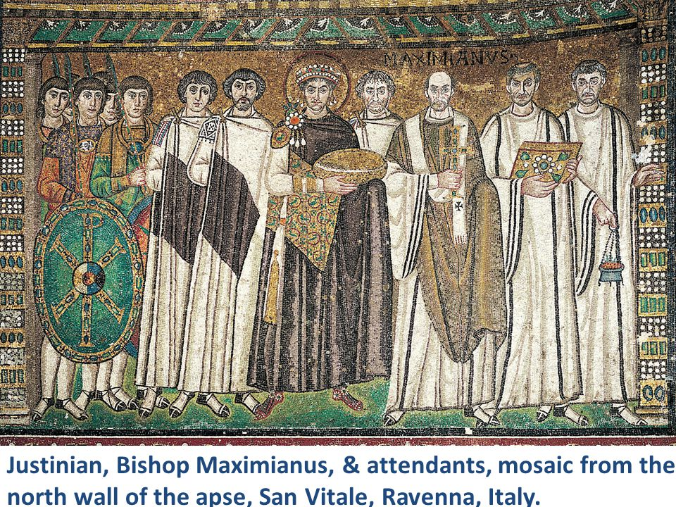 Justinian, Bishop Maximianus, & attendants, mosaic from the north wall of the apse, San Vitale, Ravenna, Italy.