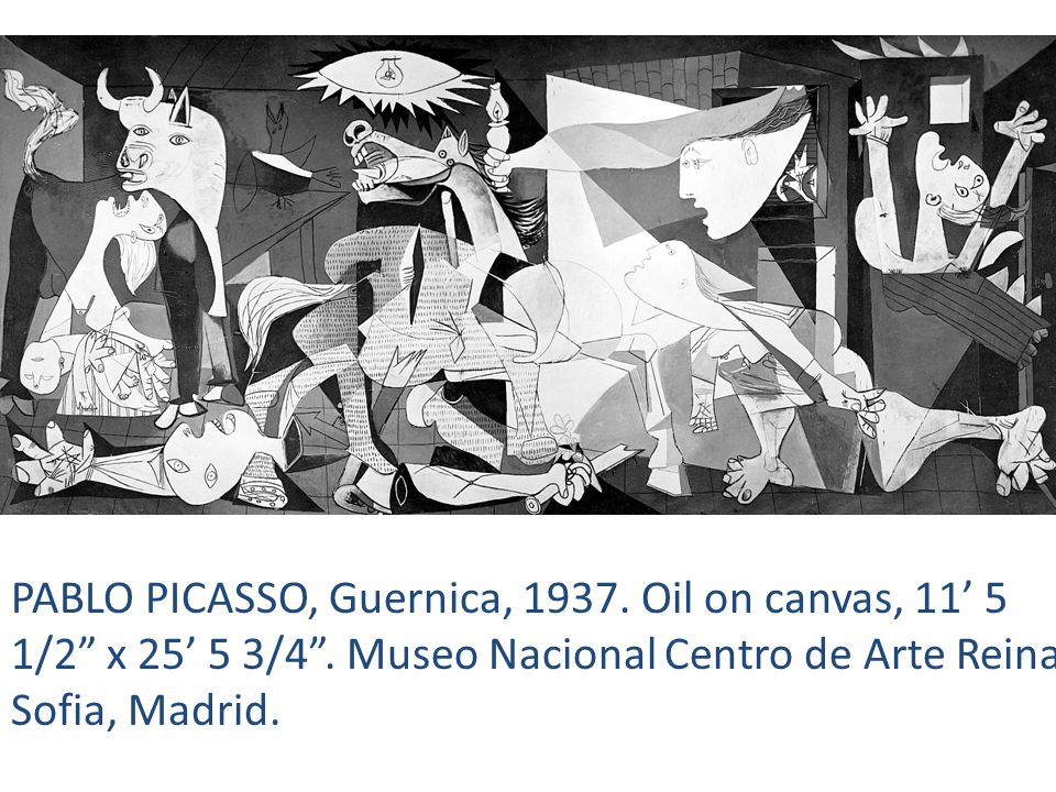 PABLO PICASSO, Guernica, Oil on canvas, 11' 5 1/2 x 25' 5 3/4