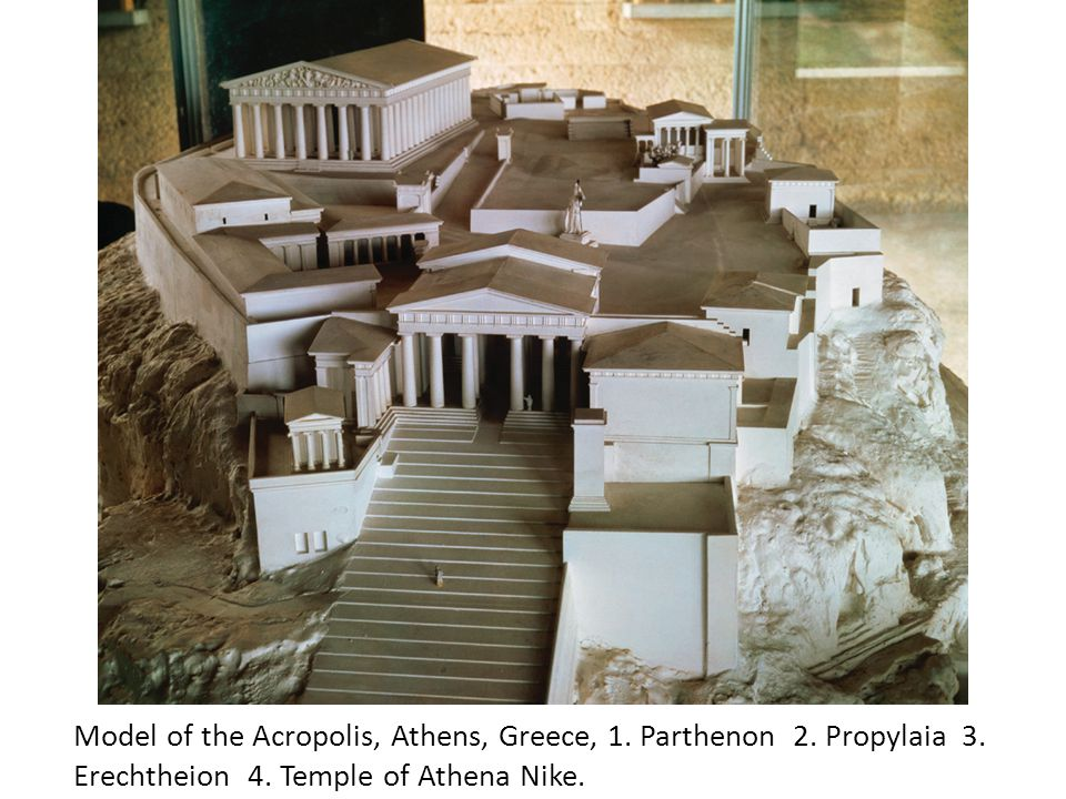 Model of the Acropolis, Athens, Greece, 1. Parthenon 2. Propylaia 3
