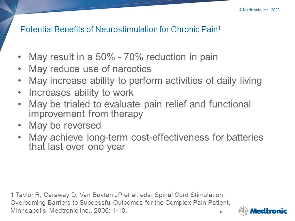 Potential Benefits of Neurostimulation for Chronic Pain1