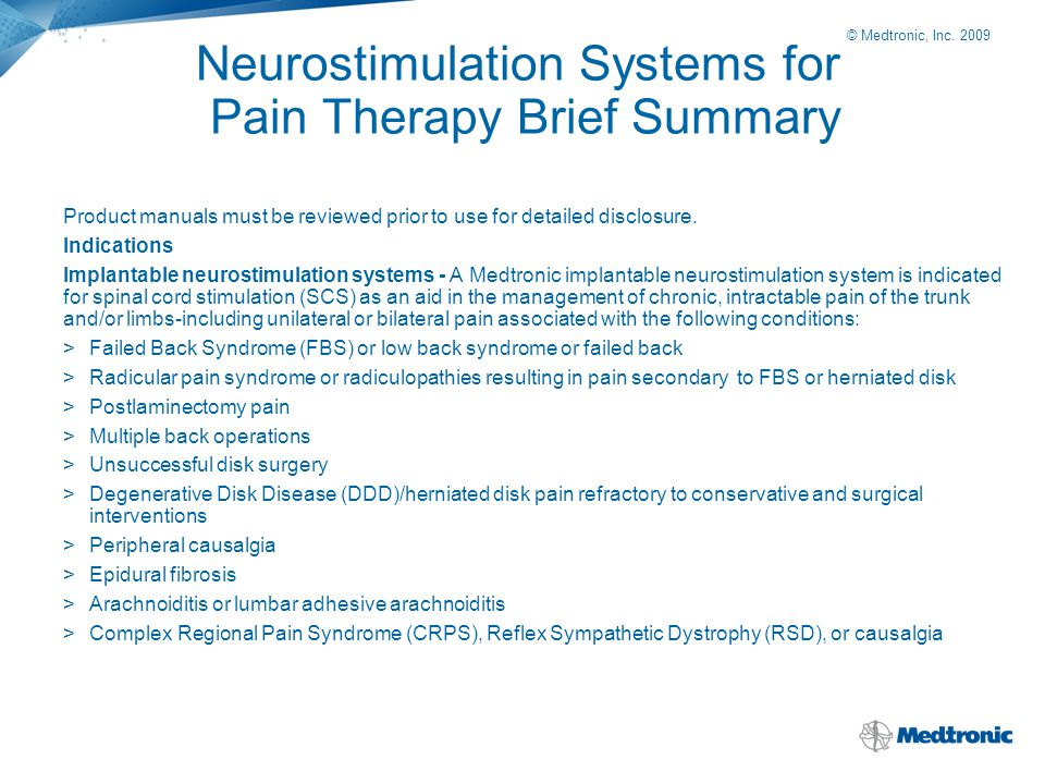 Neurostimulation Systems for Pain Therapy Brief Summary