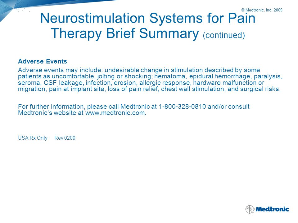 Neurostimulation Systems for Pain Therapy Brief Summary (continued)