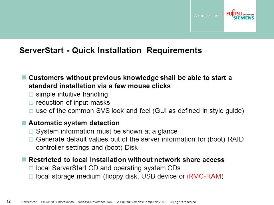 ServerStart - Quick Installation Requirements