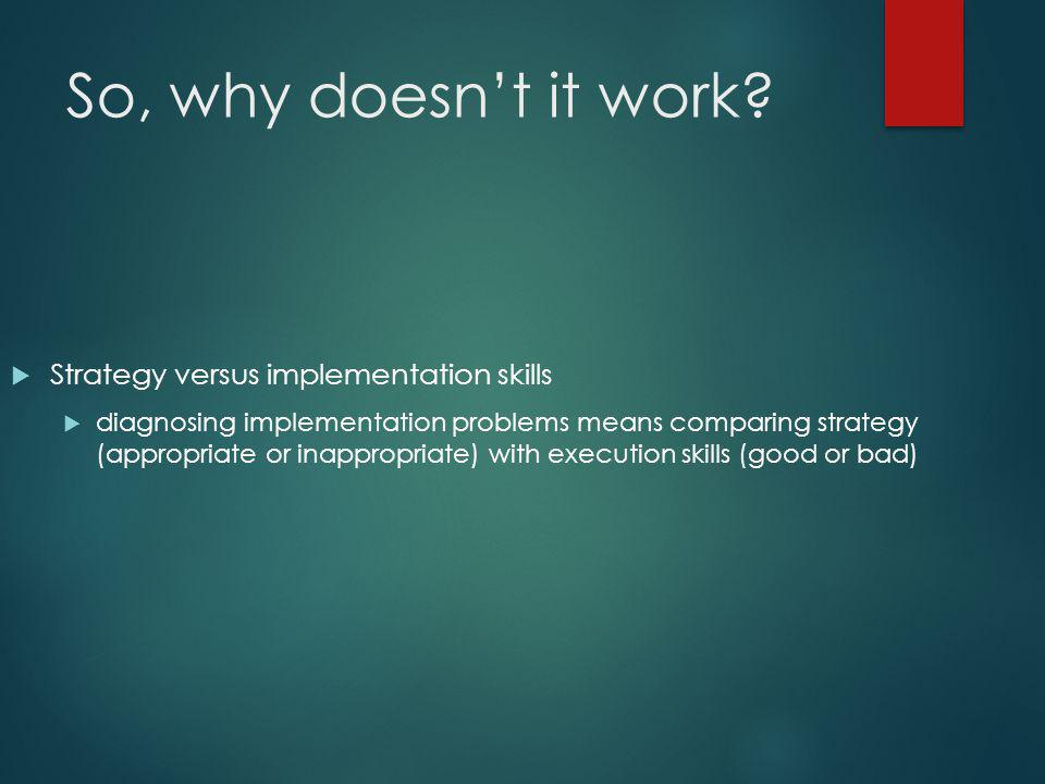 So, why doesn't it work Strategy versus implementation skills