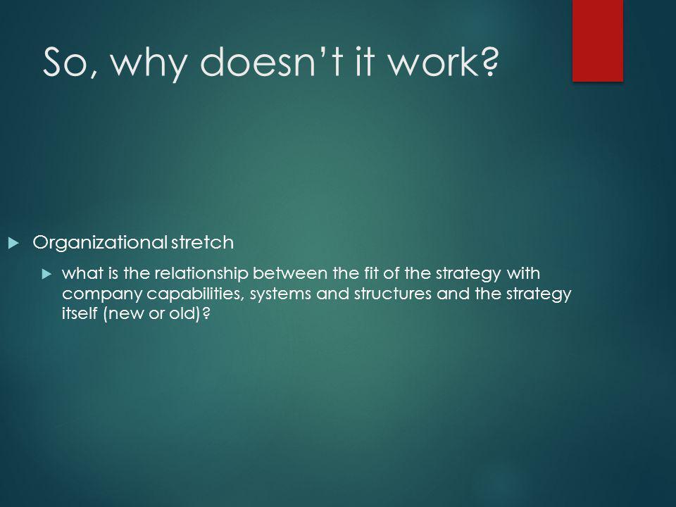 So, why doesn't it work Organizational stretch