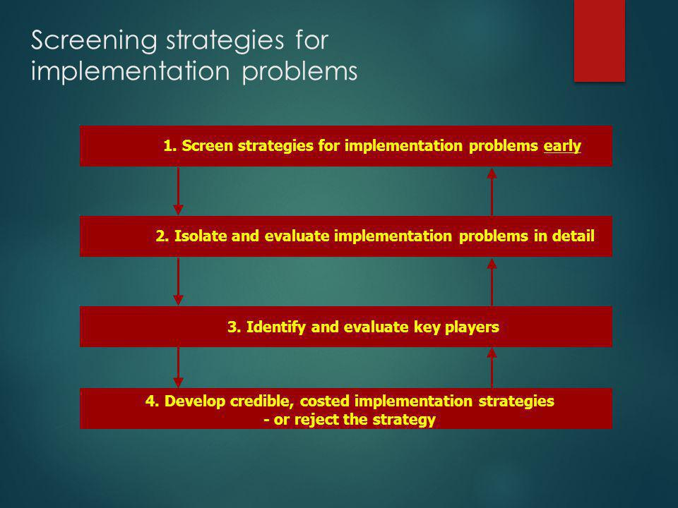 Screening strategies for implementation problems