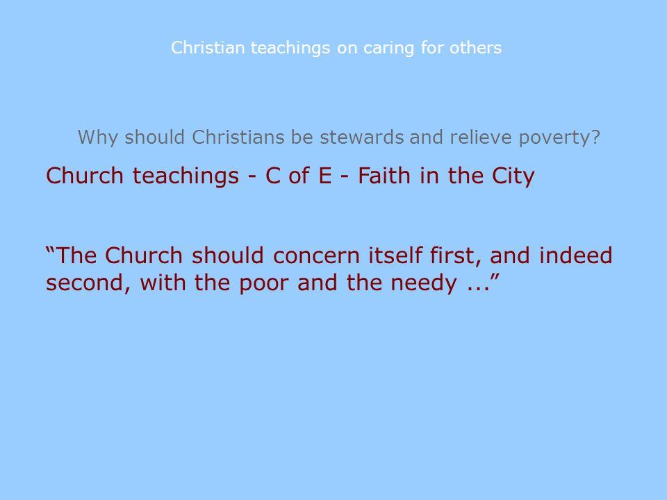 Church teachings - C of E - Faith in the City