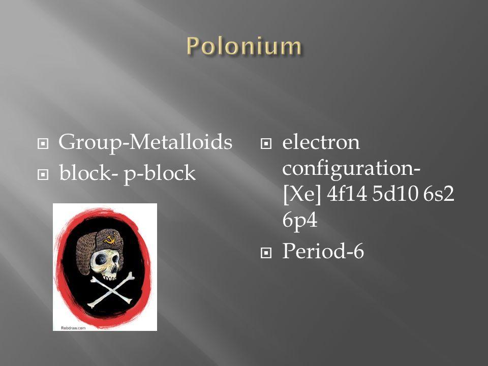 Polonium Group-Metalloids block- p-block