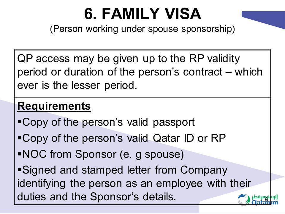6. FAMILY VISA (Person working under spouse sponsorship)