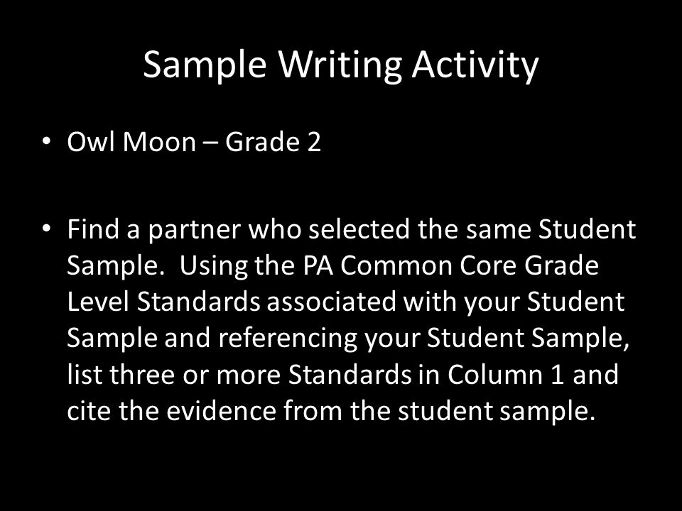 Sample Writing Activity