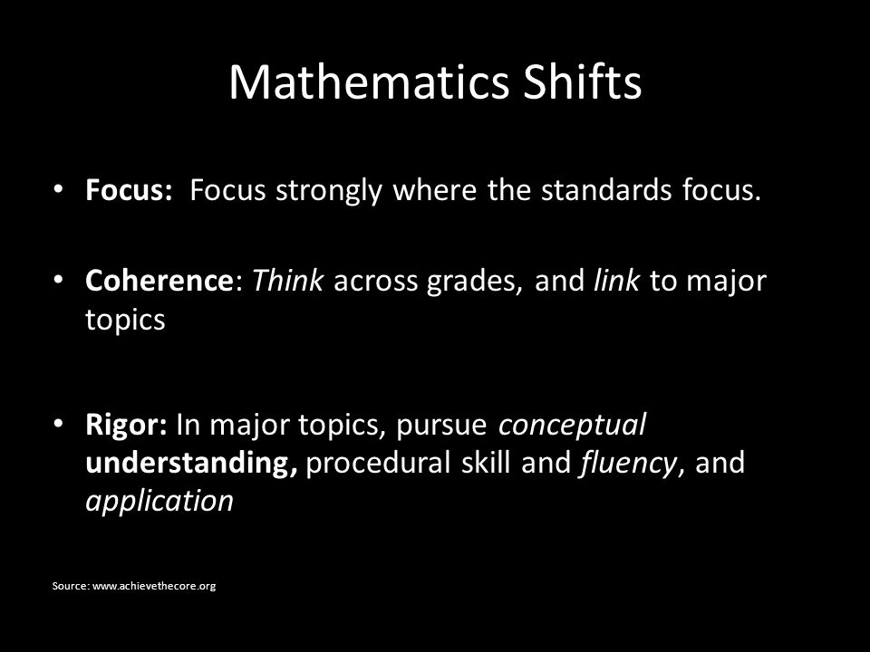 Mathematics Shifts Focus: Focus strongly where the standards focus.