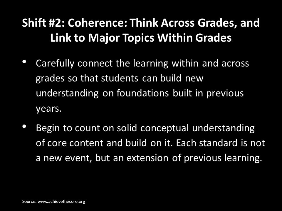 Shift #2: Coherence: Think Across Grades, and Link to Major Topics Within Grades
