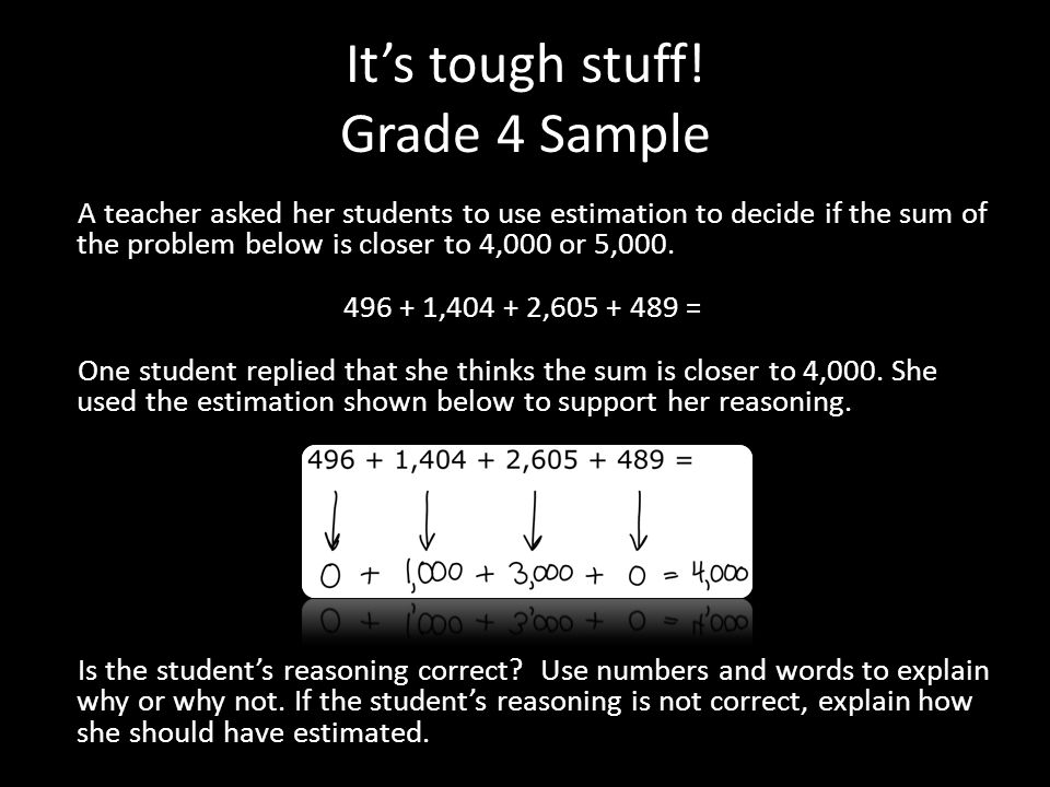 It's tough stuff! Grade 4 Sample