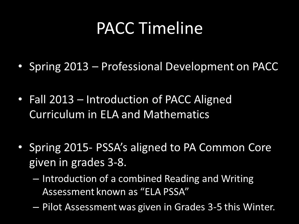 PACC Timeline Spring 2013 – Professional Development on PACC